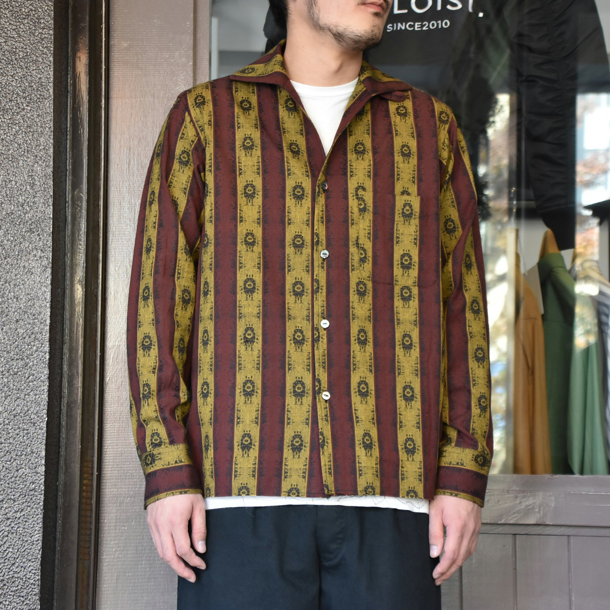 [2021]NEEDLES(ニードルス) C.O.B. ITALIAN COLLAR SHIRT INDIA STRIPE JQ -BORDEAUX-#IN112(1)