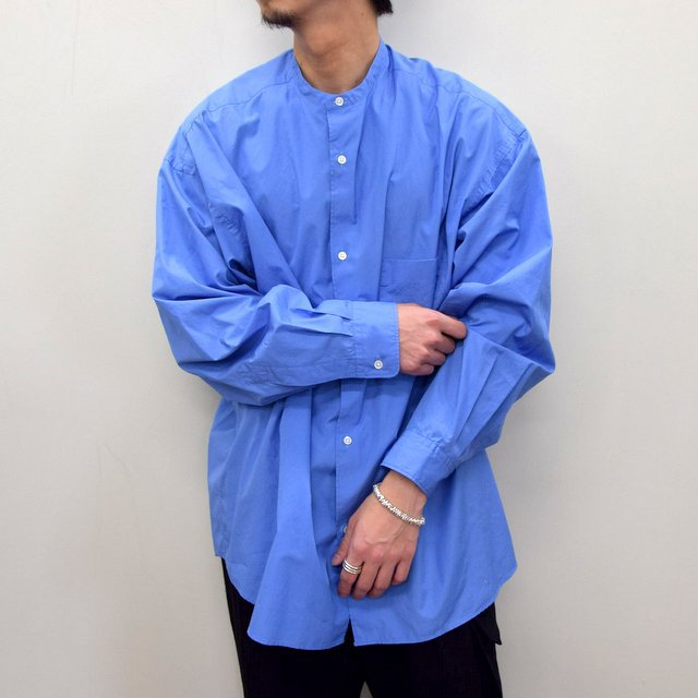 Graphpaper (グラフペーパー)/ BROAD OVERSIZED L/S BAND COLLAR SHIRT -BLUE- #GM211-50111B-GR(1)