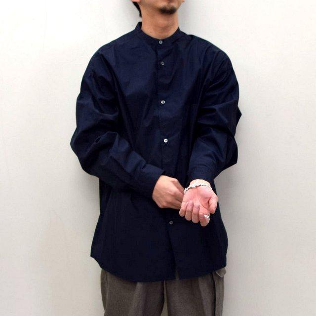 Graphpaper (グラフペーパー)/ BROAD OVERSIZED L/S BAND COLLAR SHIRT -NAVY- #GM211-50111B-GR(1)
