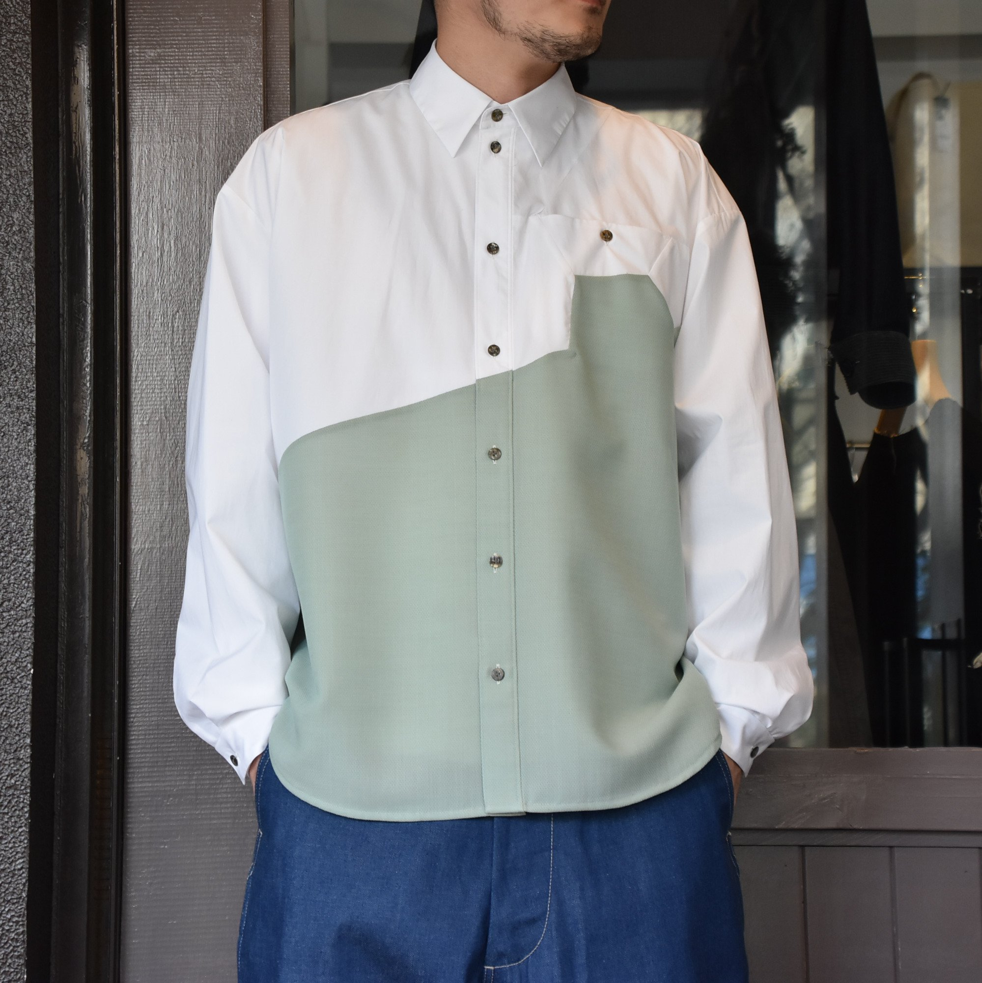 [2021]amachi.(アマチ) Sculpture Line Shirt -GREEN GRAY×WHITE #AY8-8(1)