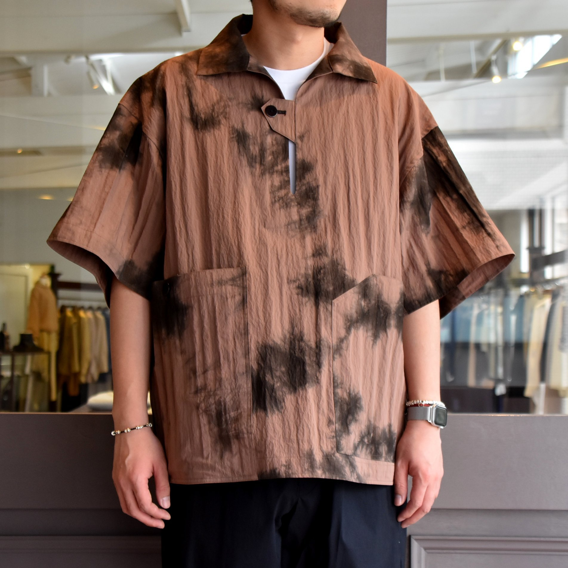 [2021]amachi.(アマチ) Packable Meeting Shirt -Brown Uneven Dye- #AY8-14(1)