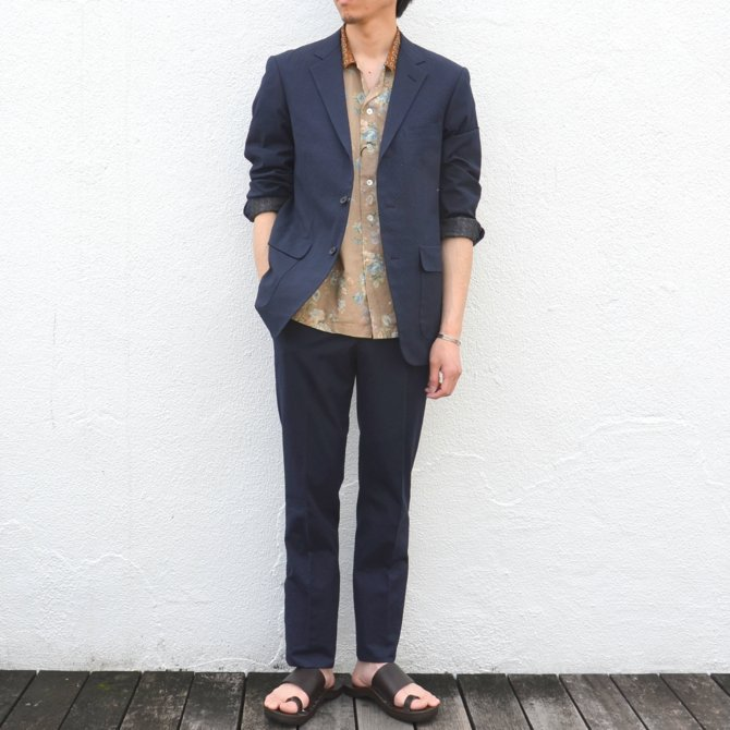 KENNETH FIELD (ケネスフィールド)  TRIM TROUSER ITALIAN SUCKER -NAVY- #17SS-40(2)