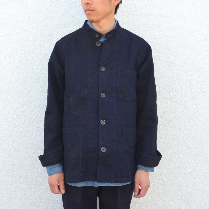 chimala(チマラ)/10OZ INDIGO X BLACK WEFT DENIM RAILROAD JACKET(UNISEX) -INDIGO- CS23-JT19(2)