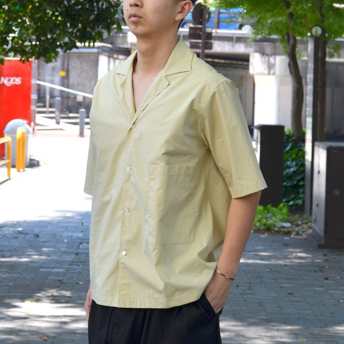 【40% OFF SALE】STUDIO NICHOLSON(スタジオニコルソン)/ OPEN COLLAR SHORT SLV SHIRT -KHAKI- #SN-280(2)