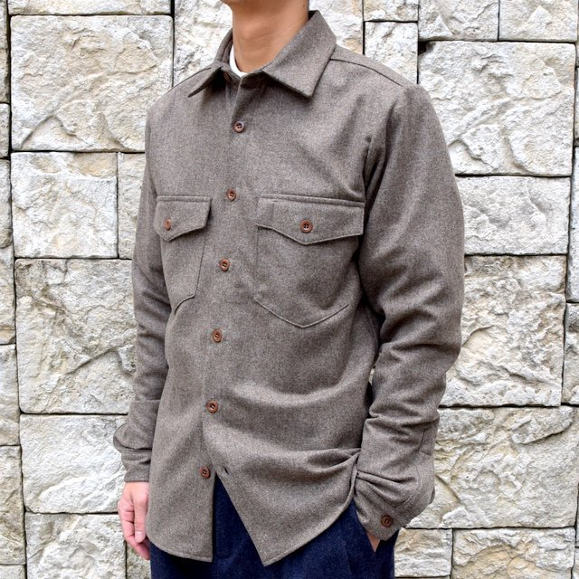 【30% off sale】FRANK LEDER(フランクリーダー) /LODEN WOOL FLAP POCKET SHIRT 0726031-GR(2)