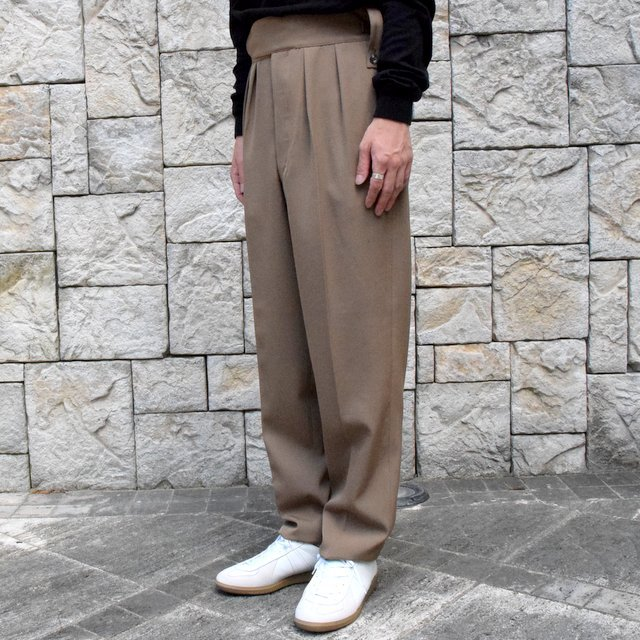 【2019 AW】NEAT(ニート)/ WOOL HIGHT DENSITY GABARDINE BELTLESS -CAMEL-#19-02WGB(2)