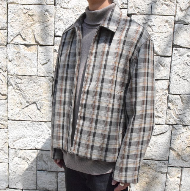 【30% off sale】【19 AW】 AURALEE(オーラリー)/DOUBLE FACE CHECK ZIP BLOUSON -BROWN CHECK-#A9AB02BN-BR(2)