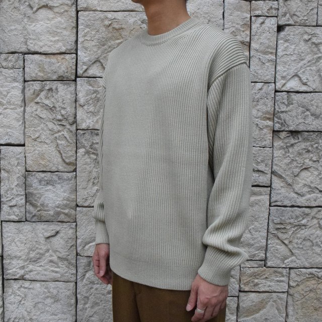 【30%OFF SALE】【2019 AW】 AURALEE(オーラリー)/SUPER FINE WOOL RIB KNIT BIG P/O -PALE GREEN- #A9AP01RK(2)
