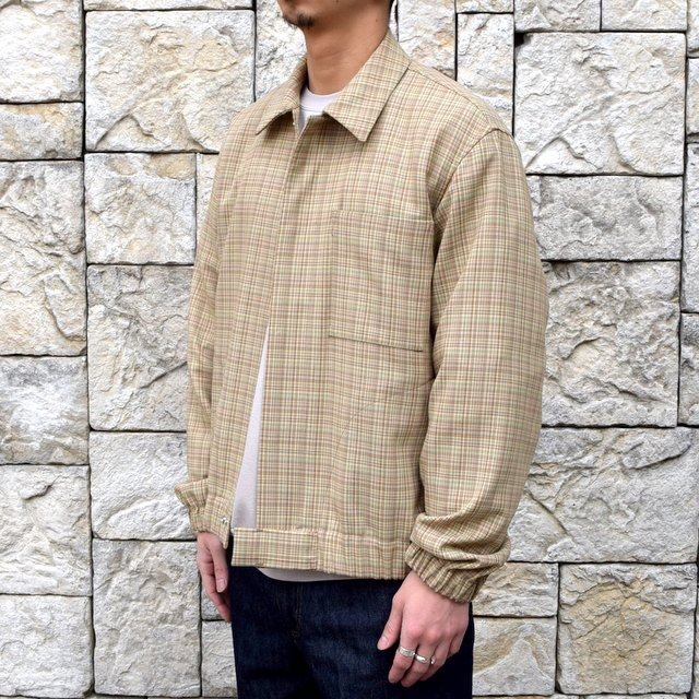 【2020 SS】 AURALEE(オーラリー)/ HARD TWIST WOOL DOUBLE FACE CHECK BLOUZON -BEIGE CHECK- #A20SB01WC(2)