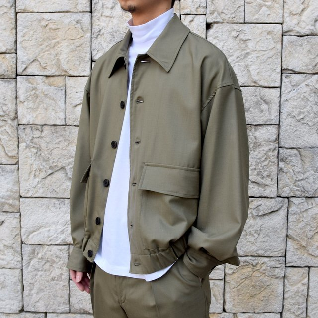 【2020 SS 】MARKAWARE(マーカウェア)/FLIGHT JACKET ORGANIC WOOL TROPICAL -OLIVE KHAKI- #A20A-04BL01C(2)