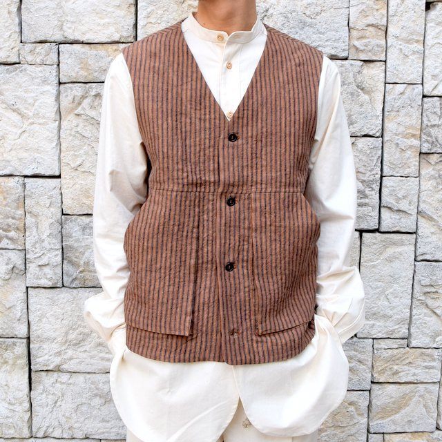 【30% off sale】【2020】FRANK LEDER(フランクリーダー)/ ROOT DYED STRIPED LINEN VEST -BROWN- #0917073-89(2)