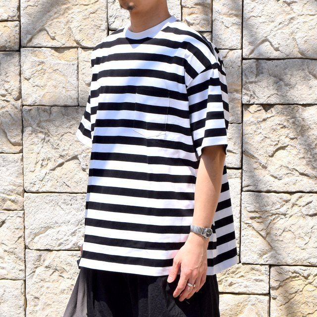 【2020 SS】Graphpaper (グラフペーパー)/ BORDER POCKET TEE S/S -WHITE×BLACK- #GM201-70149B(2)