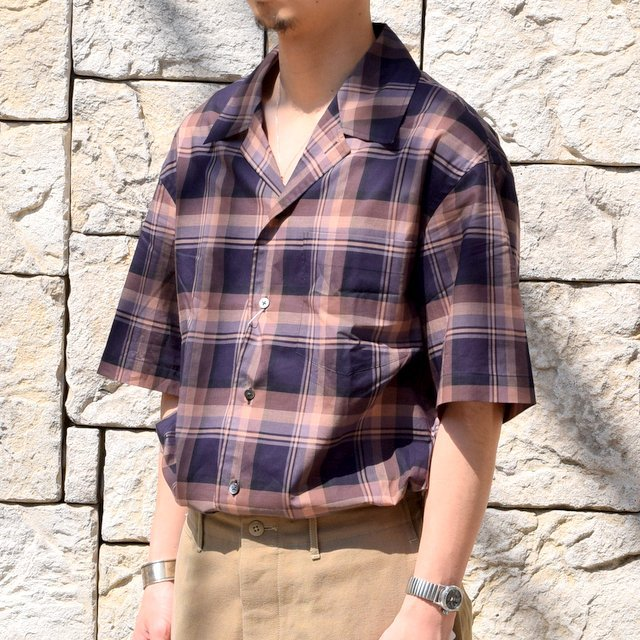 【2020】blurhms(ブラームス) / OPEN COLLAR SHIRT S/S -DARK MADRAS- #BHS-20SS018CP(2)