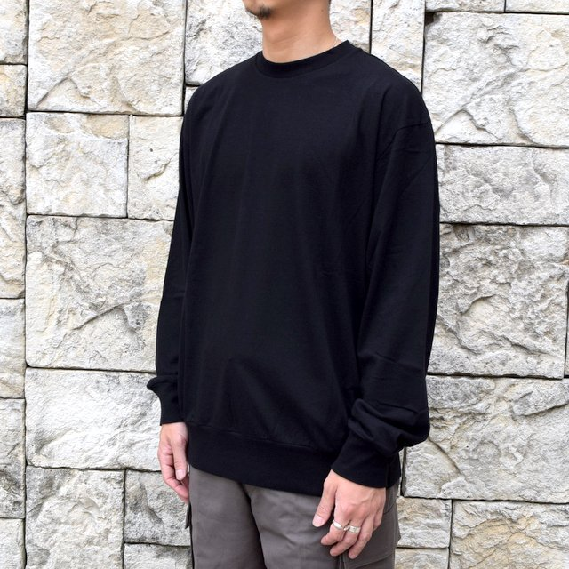 【2020】blurhms ROOTSTOCK(ブラームス) / SILK COTTON JERSEY L/S LOOSE FIT -BLACK- #ROOTS-F206(2)