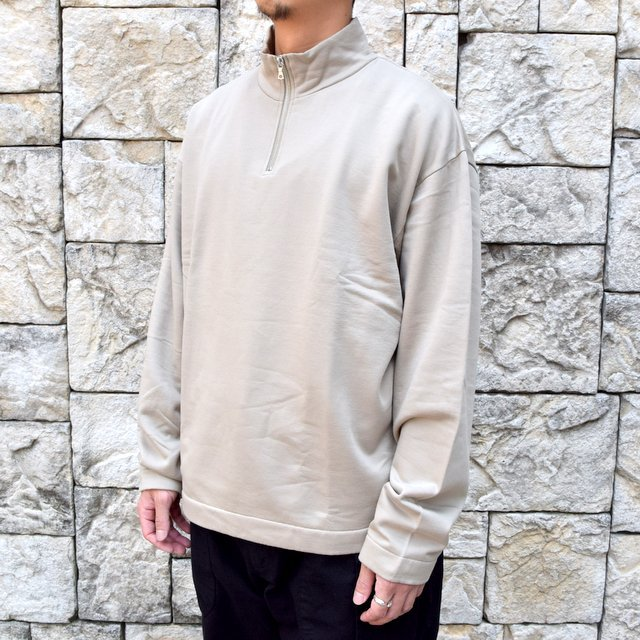 【2020】 AURALEE(オーラリー)/ ELASTIC HIGH GAUGE SWEAT HALF ZIP P/O -KHAKI GRAY- #A20AP01NU(2)