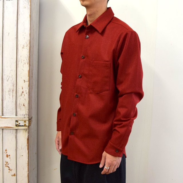 FRANK LEDER(フランクリーダー)/ LIGHT WEIGHT LODEN WOOL PLAIN SHIRT -RED- #0726027(2)