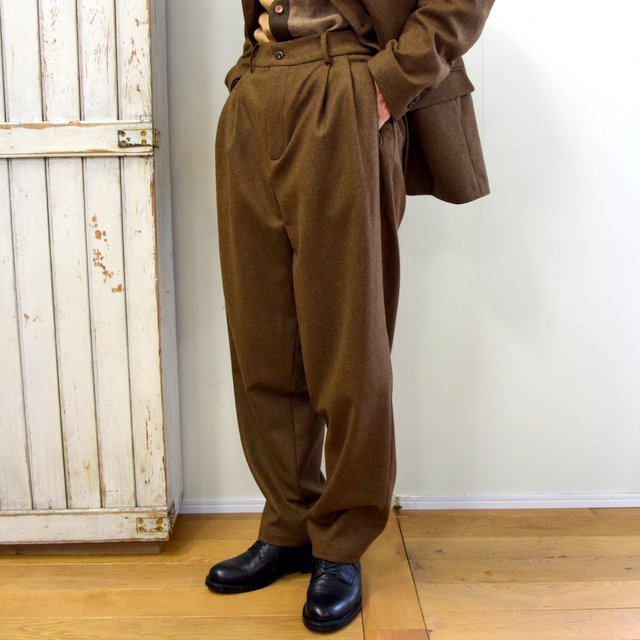 FRANK LEDER(フランクリーダー)/ LIGHT WEIGHT LODEN WOOL 2TUCK TROUSERS -BROWN- #0723028(2)