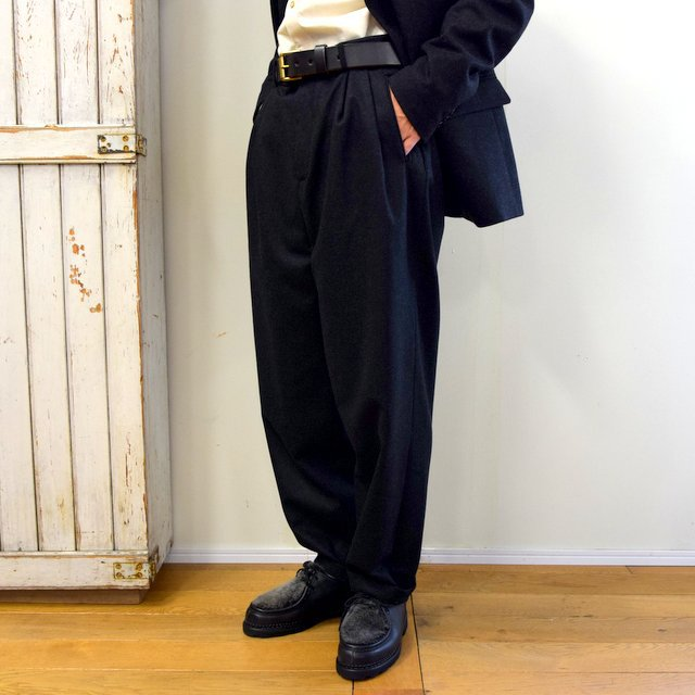 【2020】FRANK LEDER(フランクリーダー)/ LIGHT WEIGHT LODEN WOOL 2TUCK TROUSERS -BLACK- #0723028(2)