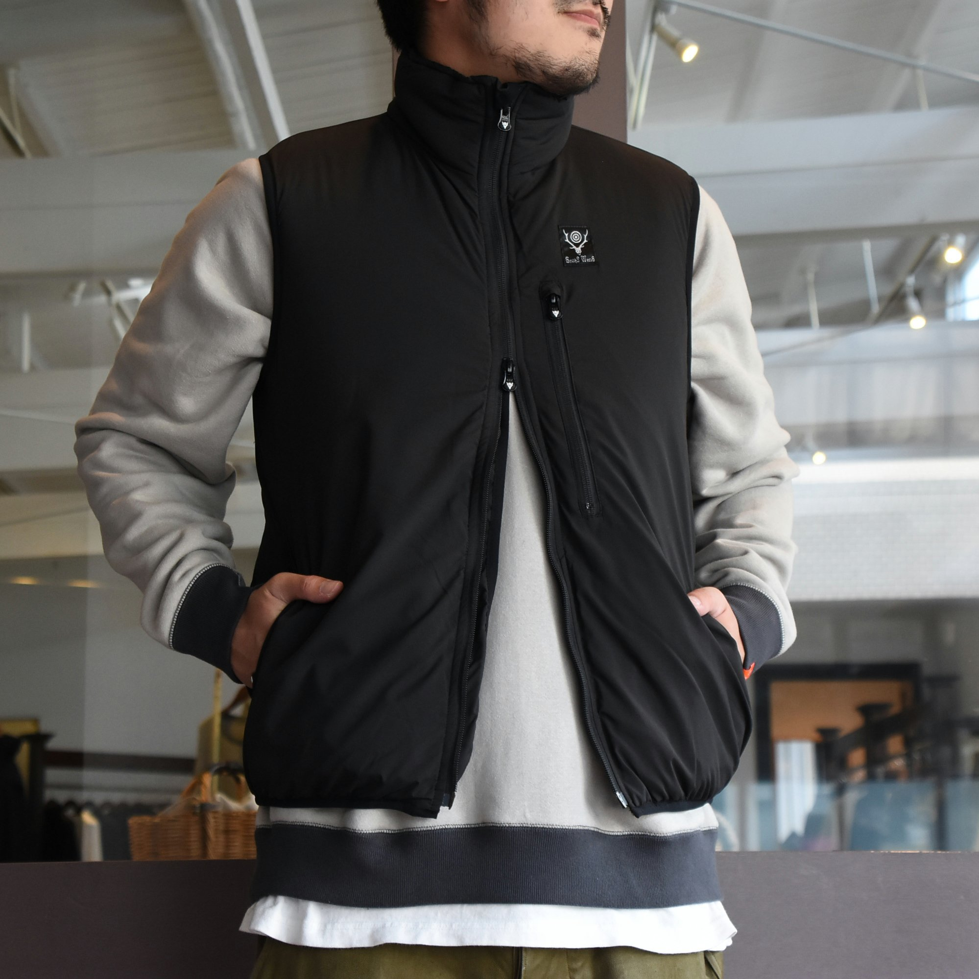 【2020】South2 West8(サウスツーウエストエイト)Insulator Vest-Peach Skin-BLACK- #HM813(2)