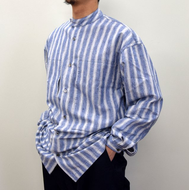 E. TAUTZ(イートウツ)/ COLLARLESS LINEMAN SHIRT -BLUE STRIPE- #(2)