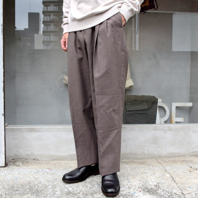 AURALEE(オーラリー)/ BLUEFACED WOOL WIDE SLACKS -TOP BROWN- #A20AP03BH(2)