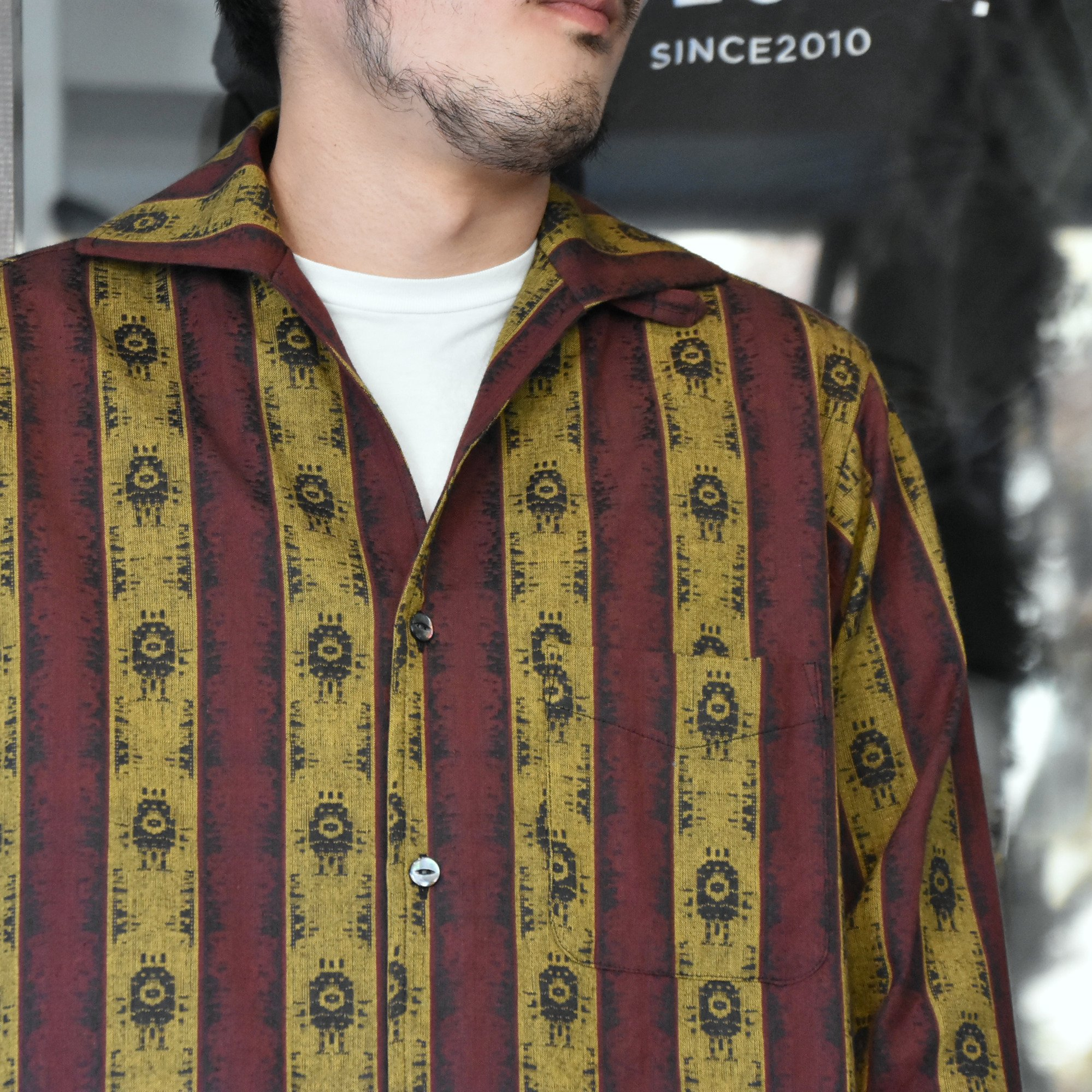[2021]NEEDLES(ニードルス) C.O.B. ITALIAN COLLAR SHIRT INDIA STRIPE JQ -BORDEAUX-#IN112(2)