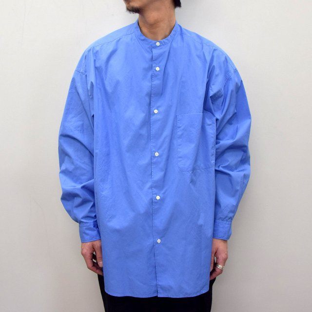 Graphpaper (グラフペーパー)/ BROAD OVERSIZED L/S BAND COLLAR SHIRT -BLUE- #GM211-50111B-GR(2)