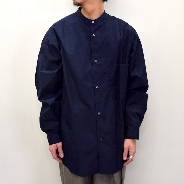 Graphpaper (グラフペーパー)/ BROAD OVERSIZED L/S BAND COLLAR SHIRT -NAVY- #GM211-50111B-GR(2)