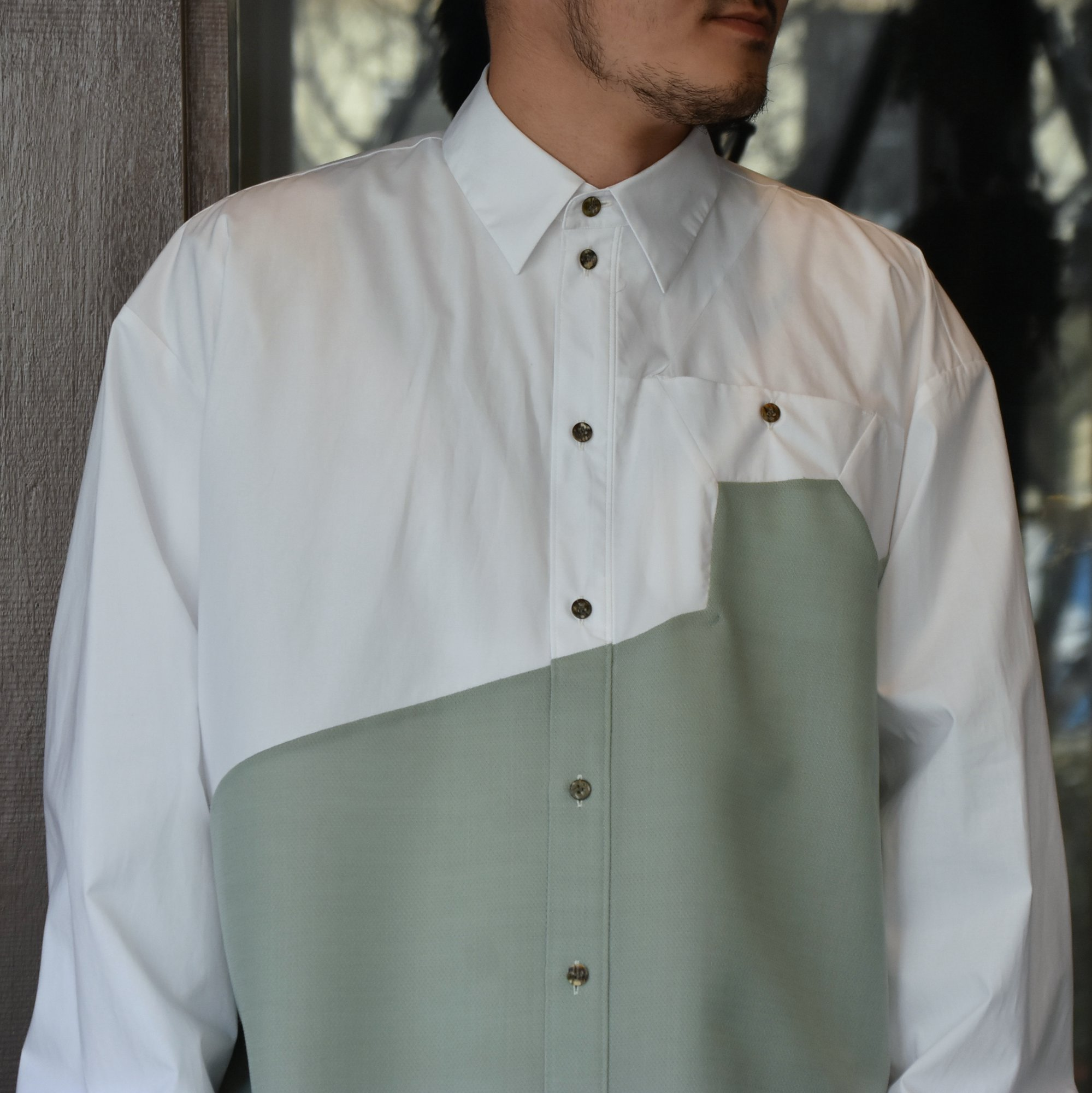 [2021]amachi.(アマチ) Sculpture Line Shirt -GREEN GRAY×WHITE #AY8-8(2)