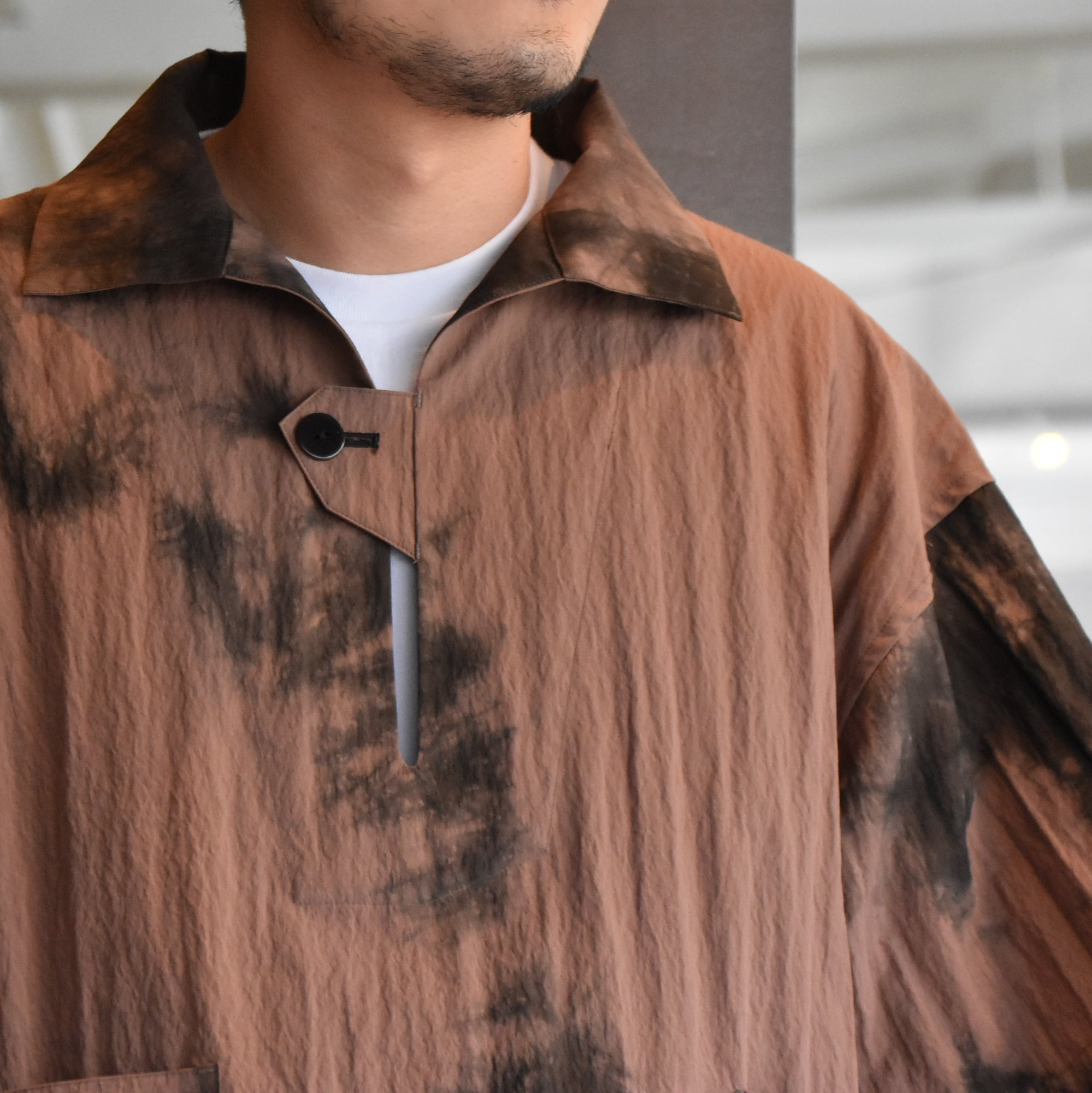[2021]amachi.(アマチ) Packable Meeting Shirt -Brown Uneven Dye- #AY8-14(2)