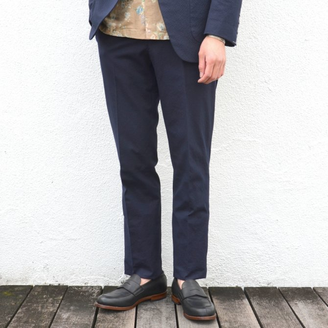 KENNETH FIELD (ケネスフィールド)  TRIM TROUSER ITALIAN SUCKER -NAVY- #17SS-40(3)