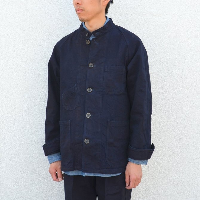 chimala(チマラ)/10OZ INDIGO X BLACK WEFT DENIM RAILROAD JACKET(UNISEX) -INDIGO- CS23-JT19(3)