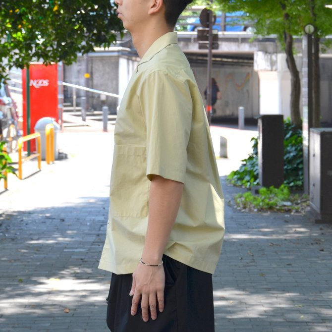 【40% OFF SALE】STUDIO NICHOLSON(スタジオニコルソン)/ OPEN COLLAR SHORT SLV SHIRT -KHAKI- #SN-280(3)