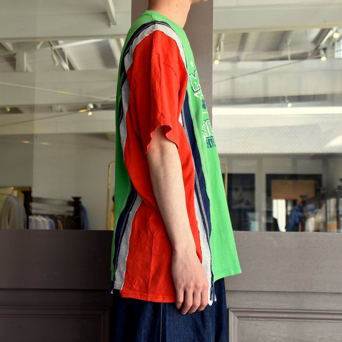 REBUILD BY NEEDLES  (リビルドバイニードルス) 7 cut wide tee-college- green EJ291(3)