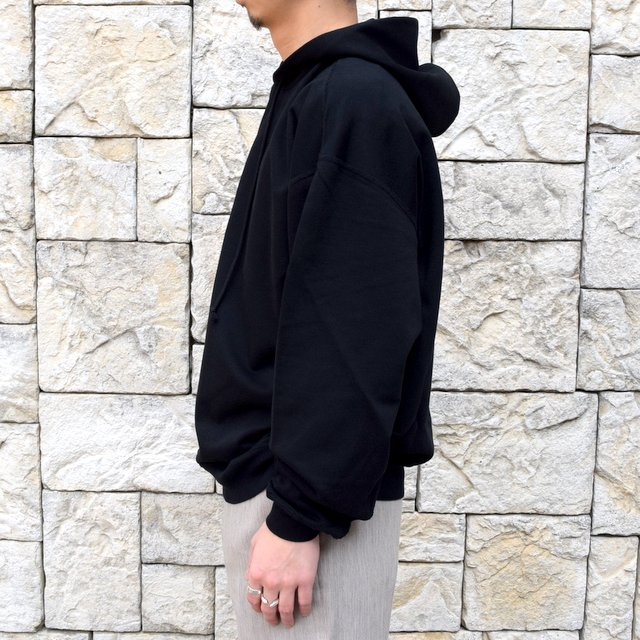 【2020 SS】AURALEE(オーラリー)/ SUPER SOFT SWEAT BIG P/O PARKA -BLACK- #A20SP01GU(3)
