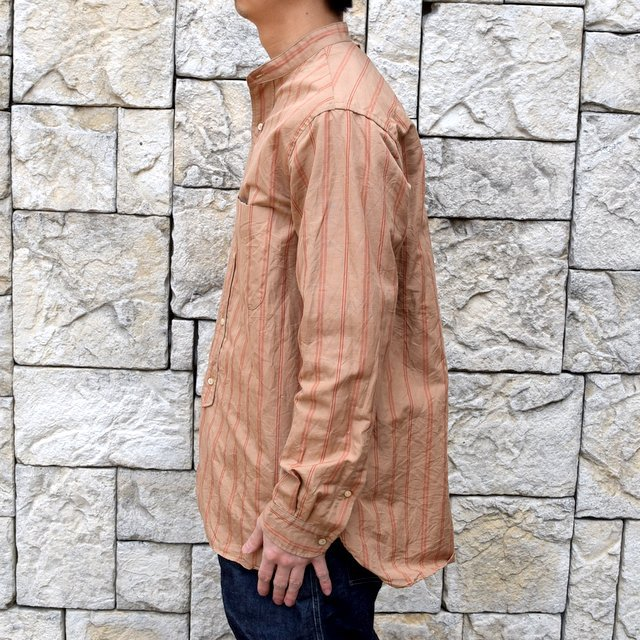 【2020】 A VONTADE(ア ボンタージ)/ BANDED COLLAR SHIRTS -BROWN STRIPE- #VTD-0312-SH(3)