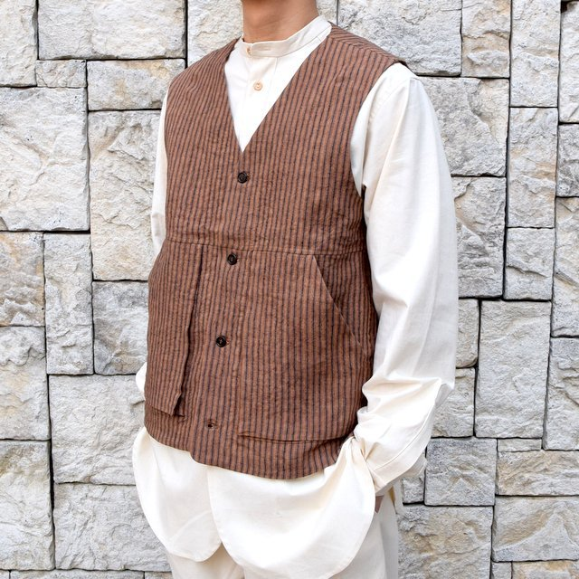 【30% off sale】【2020】FRANK LEDER(フランクリーダー)/ ROOT DYED STRIPED LINEN VEST -BROWN- #0917073-89(3)