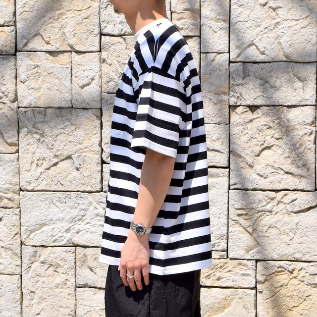 【2020】Graphpaper (グラフペーパー)/ BORDER POCKET TEE S/S -WHITE×BLACK- #GM201-70149B(3)