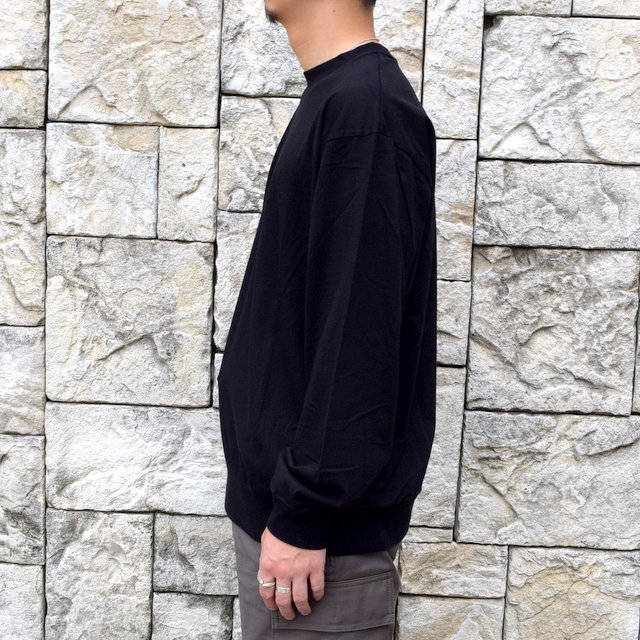 【2020】blurhms ROOTSTOCK(ブラームス) / SILK COTTON JERSEY L/S LOOSE FIT -BLACK- #ROOTS-F206(3)