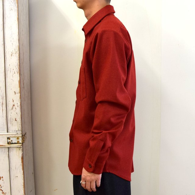 FRANK LEDER(フランクリーダー)/ LIGHT WEIGHT LODEN WOOL PLAIN SHIRT -RED- #0726027(3)