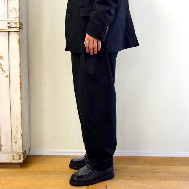 【2020】FRANK LEDER(フランクリーダー)/ LIGHT WEIGHT LODEN WOOL 2TUCK TROUSERS -BLACK- #0723028(3)