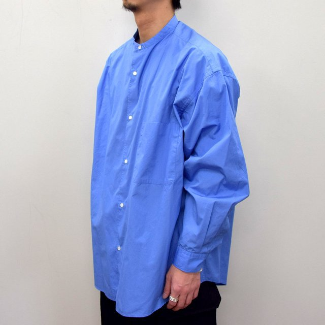 Graphpaper (グラフペーパー)/ BROAD OVERSIZED L/S BAND COLLAR SHIRT -BLUE- #GM211-50111B-GR(3)