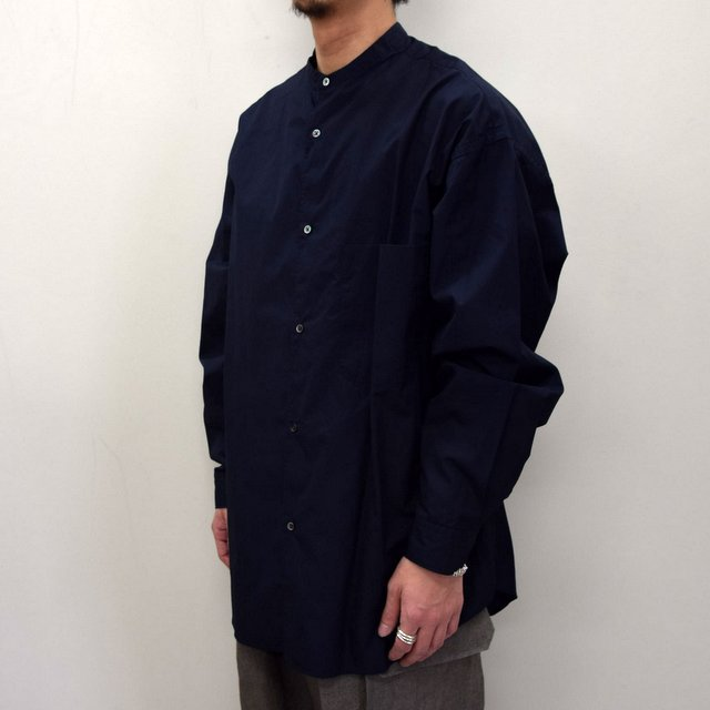 Graphpaper (グラフペーパー)/ BROAD OVERSIZED L/S BAND COLLAR SHIRT -NAVY- #GM211-50111B-GR(3)