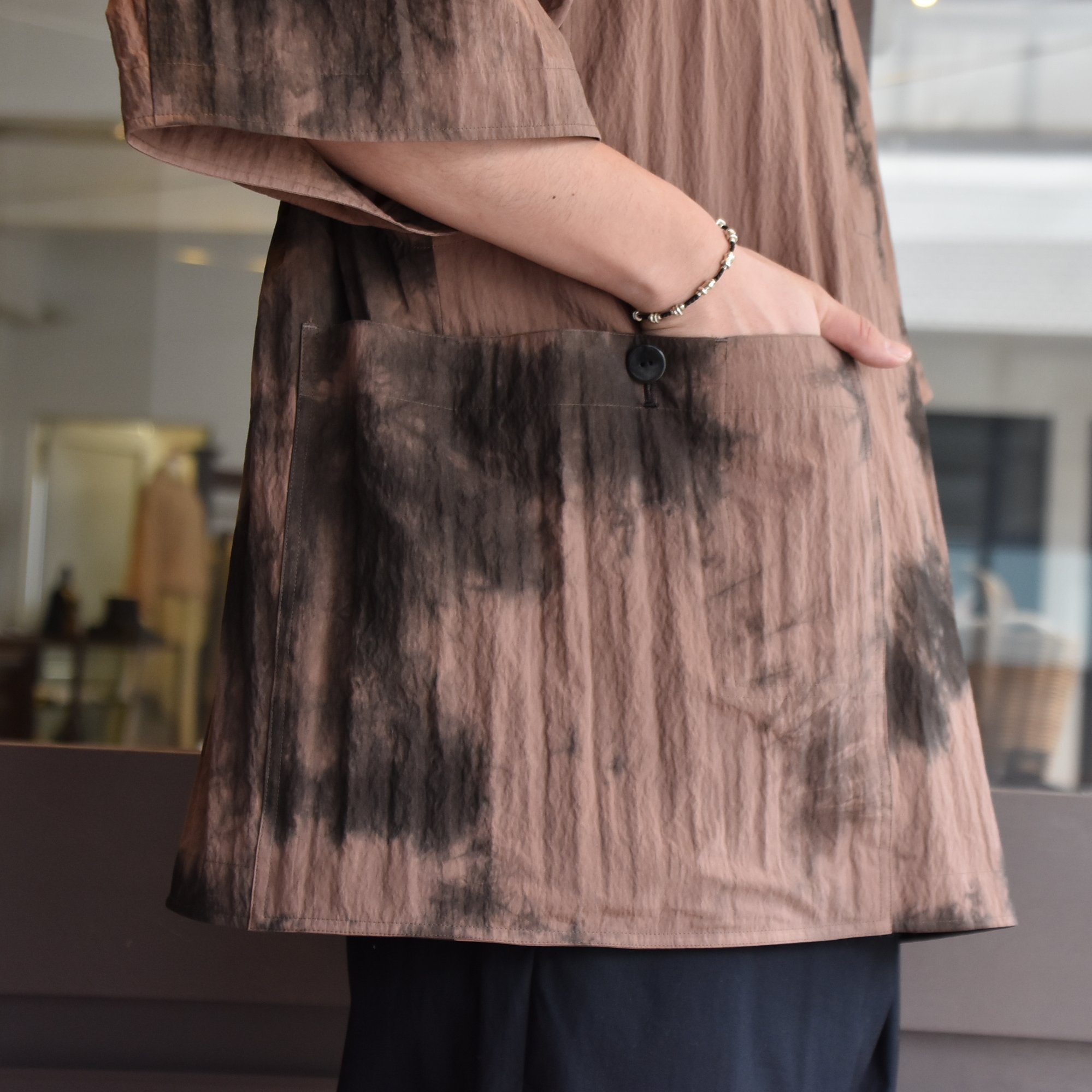 [2021]amachi.(アマチ) Packable Meeting Shirt -Brown Uneven Dye- #AY8-14(3)
