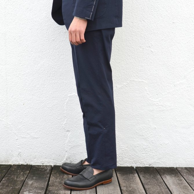 KENNETH FIELD (ケネスフィールド)  TRIM TROUSER ITALIAN SUCKER -NAVY- #17SS-40(4)