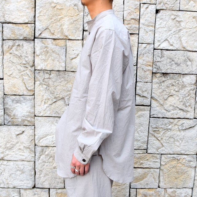 【30% off sale】【2020】FRANK LEDER(フランクリーダー)/ TRIPLE WASHED THIN COTTON STAND COLLAR SH -GREY- #0916086-95(4)