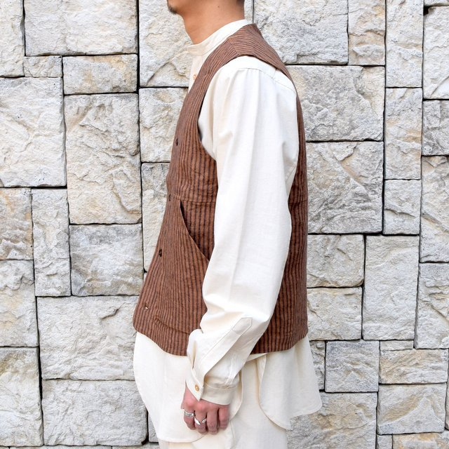 【30% off sale】【2020】FRANK LEDER(フランクリーダー)/ ROOT DYED STRIPED LINEN VEST -BROWN- #0917073-89(4)
