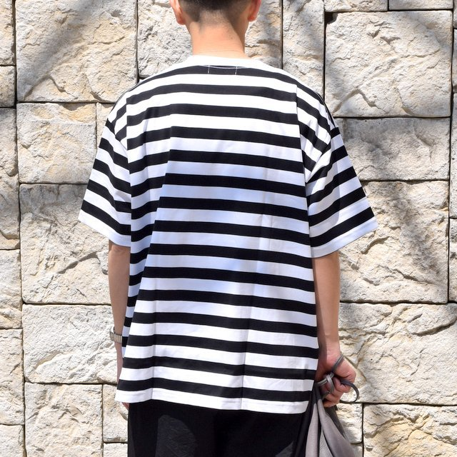 【2020 SS】Graphpaper (グラフペーパー)/ BORDER POCKET TEE S/S -WHITE×BLACK- #GM201-70149B(4)