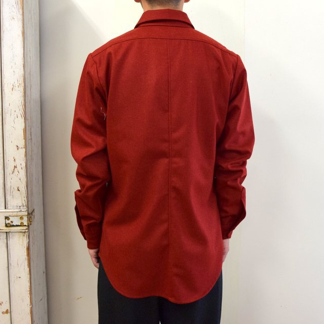 FRANK LEDER(フランクリーダー)/ LIGHT WEIGHT LODEN WOOL PLAIN SHIRT -RED- #0726027(4)