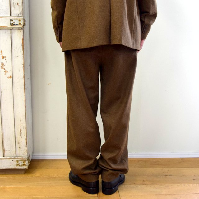 FRANK LEDER(フランクリーダー)/ LIGHT WEIGHT LODEN WOOL 2TUCK TROUSERS -BROWN- #0723028(4)